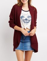 Charlotte Russe Shaker Stitch Open-Front Cardigan