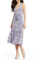 Gianni Bini Clara Floral Print Tie-Front Dress