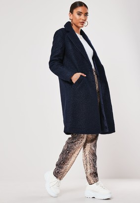 Missguided Navy Boucle Slim Formal Coat