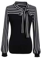 Shein Tie-neck Striped Blouse