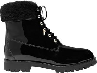 Aquazzura The Heilbrunner Faux Fur-trimmed Patent-leather Ankle Boots