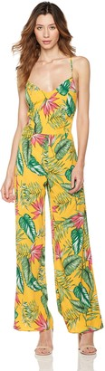 Plumberry Women's Jumpsuit Cute Cropped Foral Printed Wide Leg Playsuit Jumper Romper (X-Small