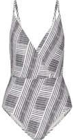 Vix Brushed Madalena Wrap-effect Printed Swimsuit - Black