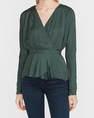 Express Textured Double Button Wrap Front Top