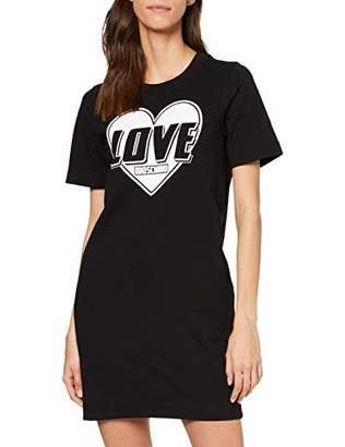 Love Moschino Women's Short Sleeve Stretch Fleece Heart & Turbo Logo Print Dress,(Size: 42)