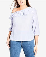 City Chic Trendy Plus Size Ruffled One-Shoulder Top