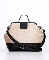 Ann Taylor Two Tone Leather Satchel Bag