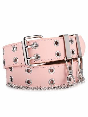 Geyoga Double Grommet Belt PU Leather Punk Waist Belt Double Prong Buckle Vintage Adjustable Jeans Belt with Metal Chain for Women (Pink)