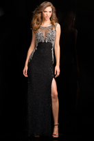 Scala 48687 Embellished Evening Gown with Side Slit
