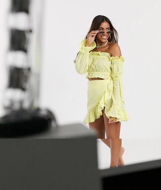 South Beach Bardot Crop Top and Ruffle Skirt Set