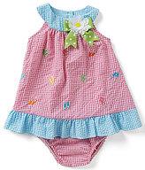 Rare Editions Baby Girls 12-24 Months Flip-Flop Embroidered Checked Seersucker Dress