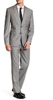 Vince Camuto Light Grey Sharkskin Two Button Notch Lapel Modern Fit Wool Suit