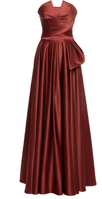 Lena Hoschek 1001 Nights Pleated Satin Strapless Gown