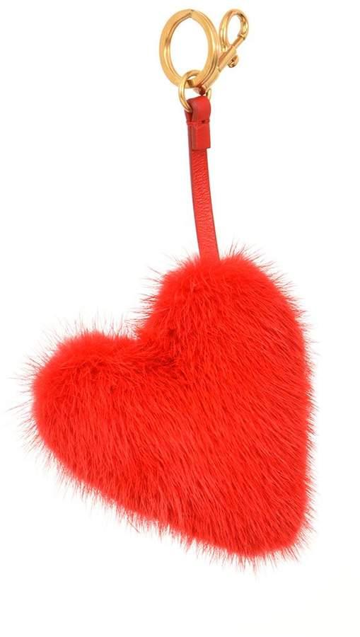 Anya Hindmarch Heart Mink Fur Charm
