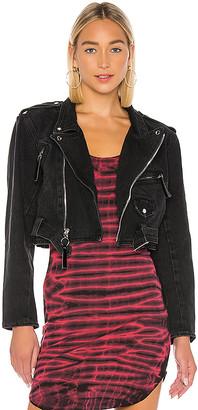 Frankie B. Jessie Denim Moto Jacket. - size L (also