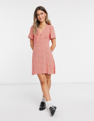 New Look tea dress in red ditsy floral print