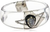 Alexis Bittar Abstract Hinge with Pave Petal and Custom Cut Stone Bangle Bracelet