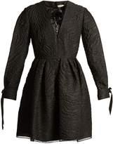 Fendi Textured-satin embellished mini dress