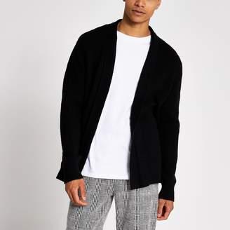 River Island Mens Black knitted foldback collar cardigan
