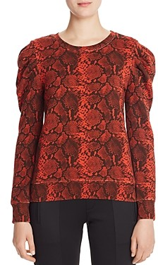 Pam & Gela Puff-Shoulder Snake Print Sweatshirt - 100% Exclusive