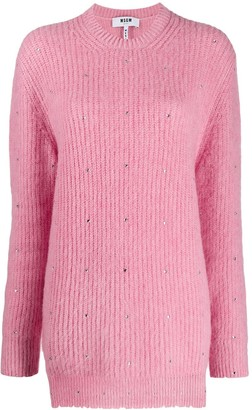 MSGM Crystal-Embellished Jumper
