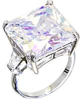 Body Candy Clear Square Cocktail Ring Size 7