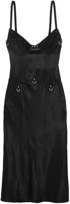McQ Lace-trimmed Crinkled-charmeuse Slip Dress