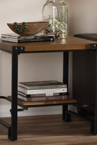 Wholesale Interiors Gibson Rustic Industrial Style Antique Black Textured Finished Metal Distressed Wood Occasional End Table