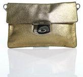 Prada Gold Metallic Leather Small Fold Over Clutch Handbag