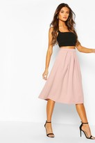 boohoo Scuba Midi Box Pleat Skater Skirt