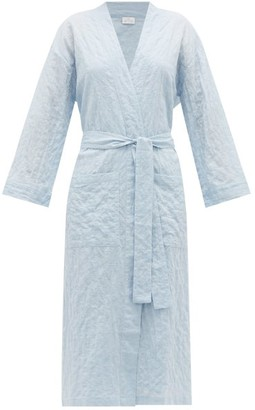 POUR LES FEMMES Belted Organic-cotton Robe - Light Blue
