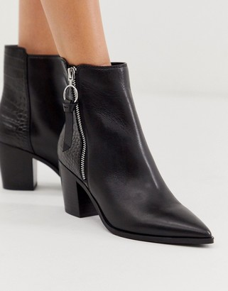 Aldo Croc Print Mix Leather Mid Heel Boot-Black