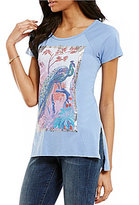 Lucky Brand Round Neck Short Sleeve Peacock Graphic Tee