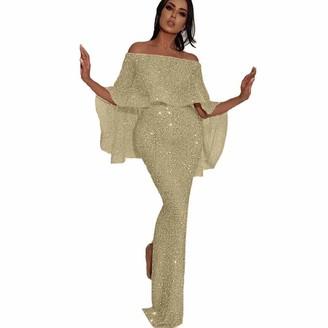fagginakss Women Evening Dress Women Sequin Prom Party Ball Gown Sexy Gold Evening Bridesmaid Long Dress Off Shoulder