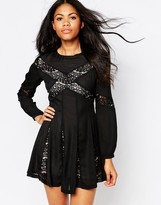 Daisy Street Skater Dress With Lace Inserts