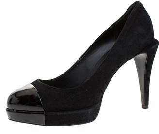 Chanel Dark Black Suede and Black Patent Leather Cap Toe Platform Pumps Size 40