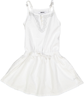 DKNY Bright White Embroidered Drop-Waist Dress - Toddler & Girls