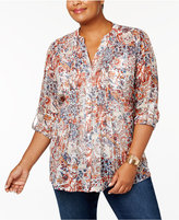 Style&Co. Style & Co Plus Size Printed Blouse, Created for Macy's