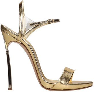 Casadei Sandals In Gold Leather
