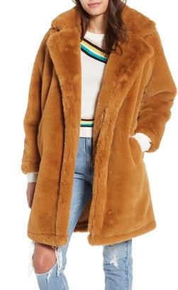 Woven Heart Faux Fur Teddy Coat