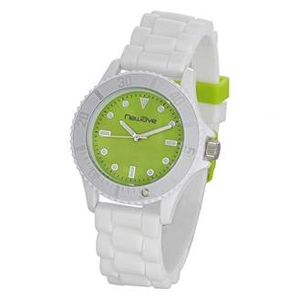 Newave nwh214bv - Unisex Watch - Analogue Quartz - Green Dial - White Silicone bracelet
