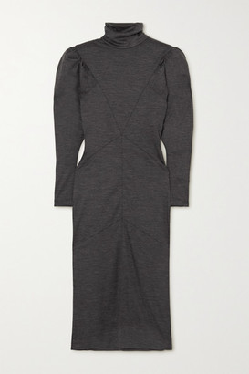 Isabel Marant Genia Paneled Melange Wool Turtleneck Midi Dress - Anthracite