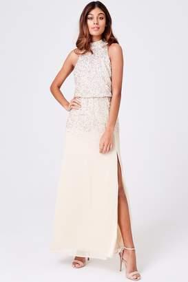 Luxury Severin Nude Hand-Embellished Maxi Dress