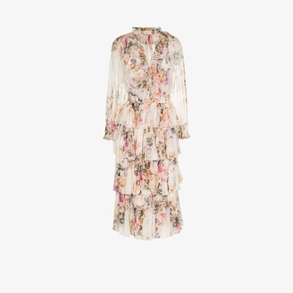 Zimmermann Brighton Ruffle Floral Print Midi Dress