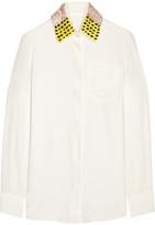 Altuzarra Chika Sequin-embellished Silk Crepe De Chine Shirt - Ivory