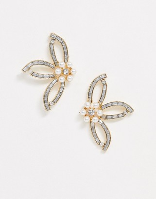 True Decadence pearl and crystal floral earrings