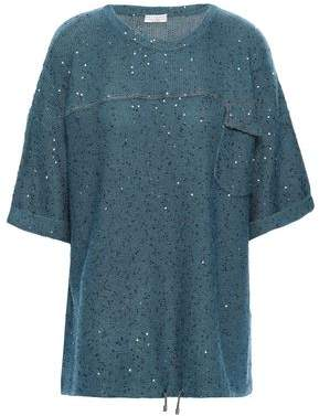 Brunello Cucinelli Embellished Cashmere And Silk-blend Top