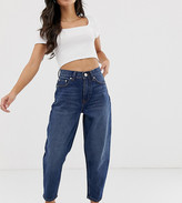 Asos DESIGN Petite Balloon boyfriend jeans in dark mid vintage blue wash