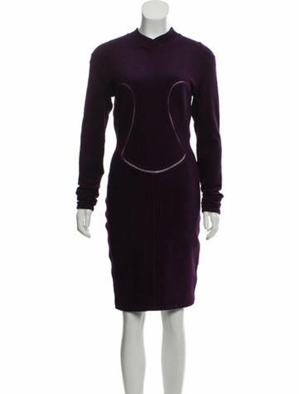 Alaia Velour Knee-Length Dress Violet