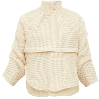 A.W.A.K.E. Mode Victoria Waffle-weave Cotton-blend Top - Womens - Cream